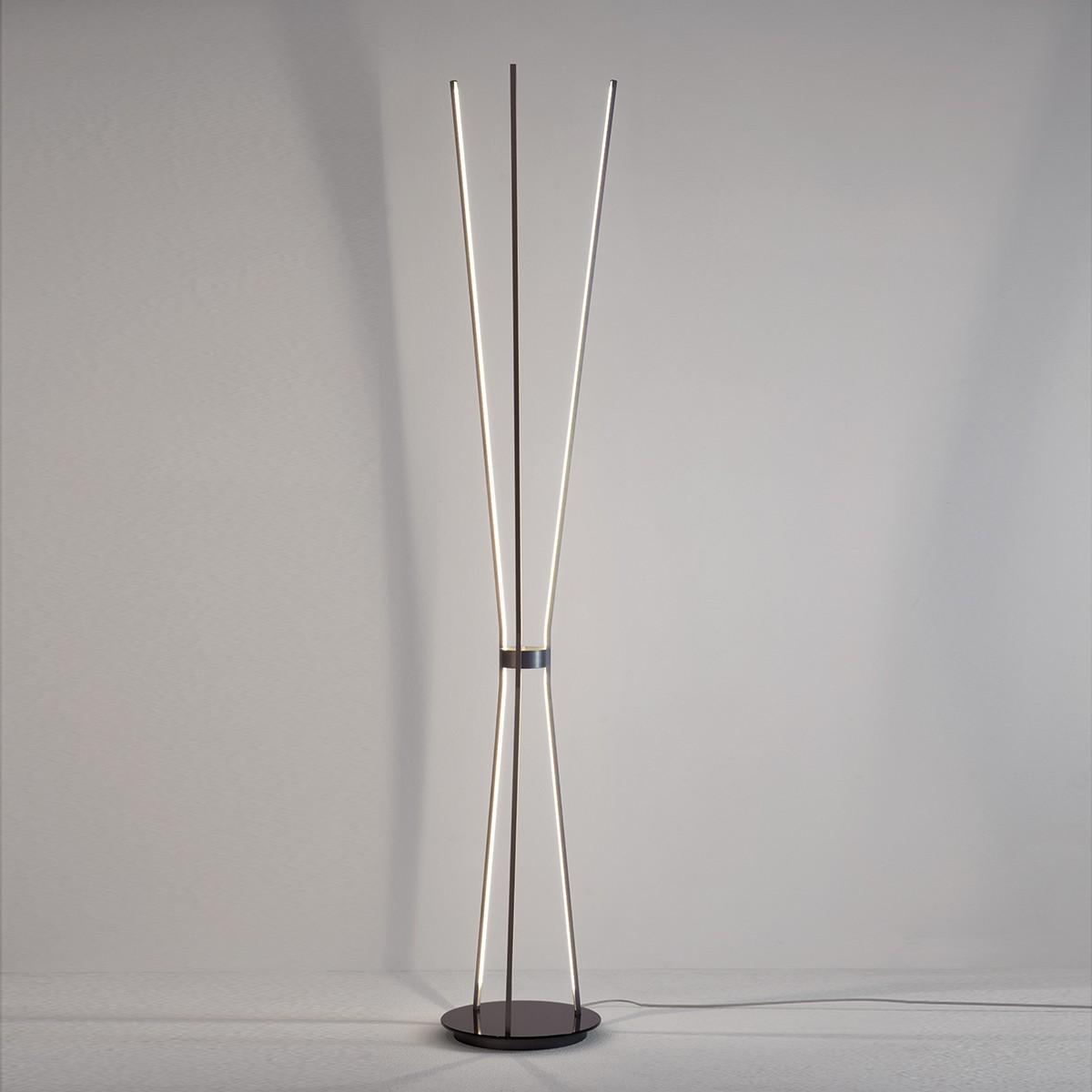 Escale Jazz Stehleuchte, anthrazit lackiert, Glas: schwarz