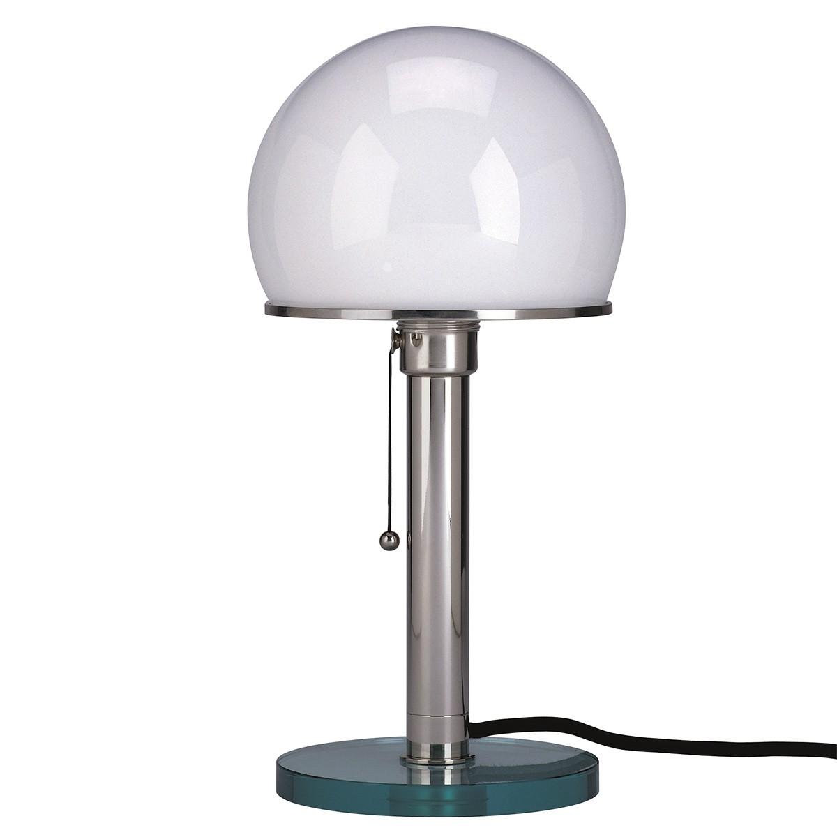 Tecnolumen Wagenfeld Tischleuchte, WG 25 GL, Fuß: Klarglas, Schaft: Nickel, Schirm: Glas opalüberfangen